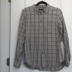 Madewell Grey with red stripes casual flannel